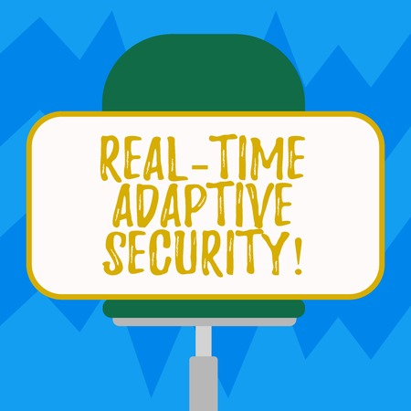 Text sign showing Real Time Adaptive Security. Conceptual photo accommodate the emergence of multiple perimeters Blank Rectangular Shape Sticker Sitting Horizontally on a Swivel Chair
