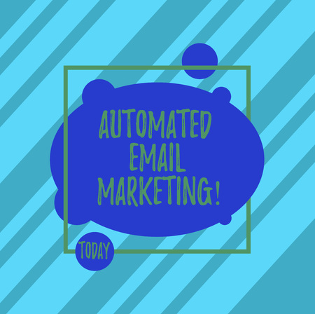 Word writing text Automated Email Marketing. Business concept for Email sent automatically to list of showing Asymmetrical Blank Oval photo Abstract Shape inside a Square Outline Reklamní fotografie