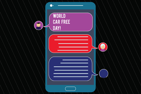 Writing note showing World Car Free Day. Business photo showcasing Environment protection campaign avoid pollution Mobile Messenger Screen with Chat Heads and Blank Color Speech Bubbles Фото со стока