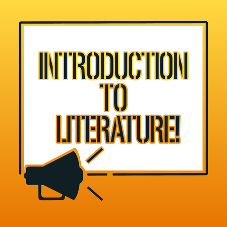 Handwriting text writing Introduction To Literature. Concept meaning Collegepreparatory composition course Megaphone Sound icon Outlines Blank Square Loudspeaker Text Space photo Banco de Imagens