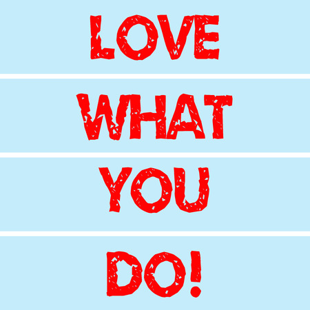 Handwriting text writing Love What You Do. Concept meaning Make things that you like enjoy with positive attitude Rectangular Color Label Strips Blank Text Space for Presentation Posters