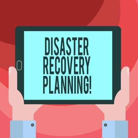 Text sign showing Disaster Recovery Planning. Conceptual photo procedures to recover and protect a business Hu analysis Hand Holding Blank Screen Tablet Smartphone Display Unit photo
