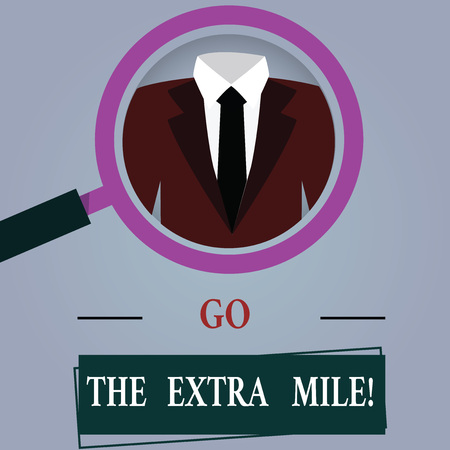 Word writing text Go The Extra Mile. Business concept for Give an additional do more than is expected from you Magnifying Glass photo Enlarging Inspecting a Tuxedo and Label Tag Below