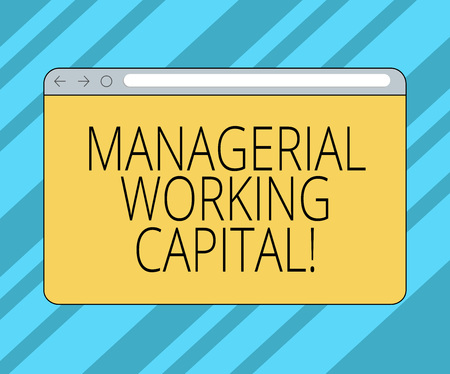 Text sign showing Managerial Working Capital. Conceptual photo Shortterm liabilities and shortterm assets Monitor Screen with Forward Backward Progress Control Bar Blank Text Space 版權商用圖片