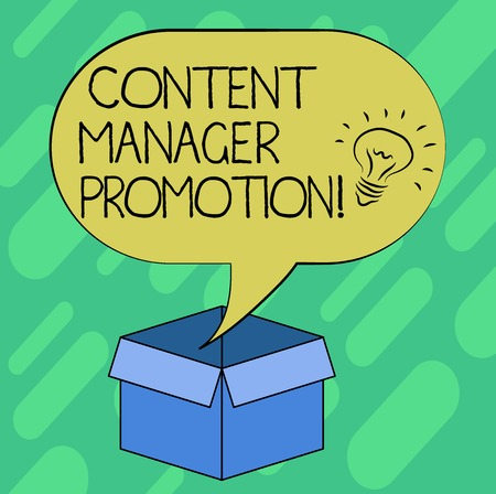 Conceptual hand writing showing Content Manager Promotion. Business photo showcasing someone who oversees the content presented Idea icon in Blank Halftone Speech Bubble Over Carton Box