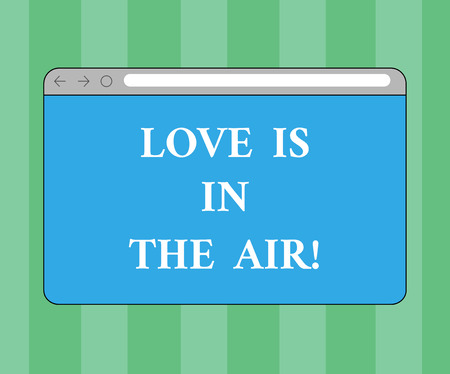 Handwriting text writing Love Is In The Air. Concept meaning Roanalysistic emotions situations new couple relationships Monitor Screen with Forward Backward Progress Control Bar Blank Text Space