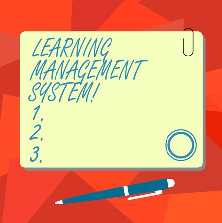 Conceptual hand writing showing Learning Management System. Business photo text software application that is used to administer Square Color Board with Magnet Click Ballpoint Pen and Clip