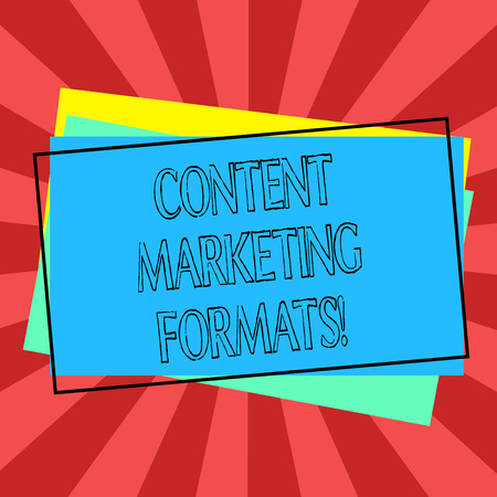 Text sign showing Content Marketing Formats. Conceptual photo the way in which brand is arranged or set out Pile of Blank Rectangular Outlined Different Color Construction Paper Banque d'images