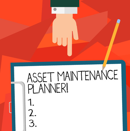 Conceptual hand writing showing Asset Maintenance Planner. Business photo showcasing Ability to implement structured maintenance plans Hu analysis Hand Pointing to Clipboard with Paper and Pencil Reklamní fotografie