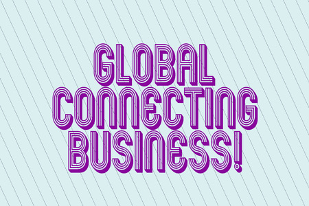 Handwriting text Global Connecting Business. Concept meaning trading of goods and services internationally Blank Pastel Rectangle with Diagonal Seamless Straight Dotted Lines photo