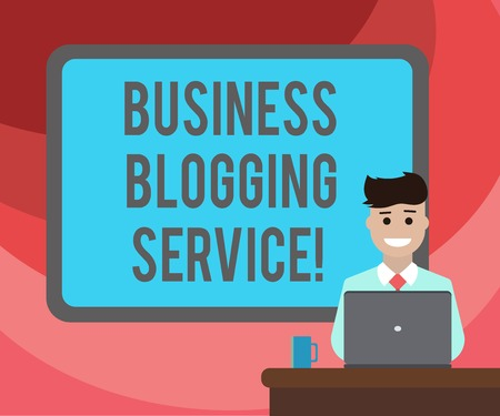 Text sign showing Business Blogging Service. Conceptual photo publishing shortform content of a business Blank Bordered Board behind Man Sitting Smiling with Laptop Mug on Desk