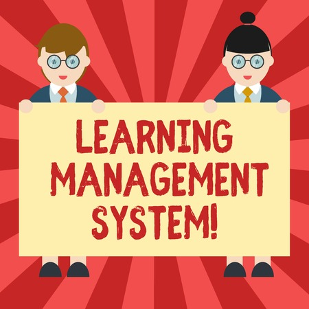 Conceptual hand writing showing Learning Management System. Business photo showcasing software application that is used to administer Male and Female in Uniform Holding Placard Banner Text Space Stok Fotoğraf