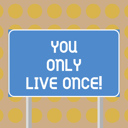 Word writing text You Only Live Once. Business concept for Seize the day and be happy motivated enjoy life Blank Rectangular Outdoor Color Signpost photo with Two leg and Outline