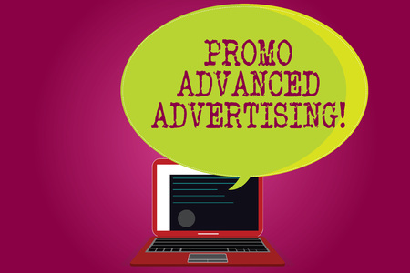 Conceptual hand writing showing Promo Advanced Advertising. Business photo text inform target audiences the merits of a product Certificate Layout on Laptop Screen and Halftone Speech Bubble Stock Photo