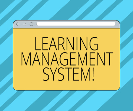 Text sign showing Learning Management System. Conceptual photo software application that is used to administer Monitor Screen with Forward Backward Progress Control Bar Blank Text Space Stock Photo