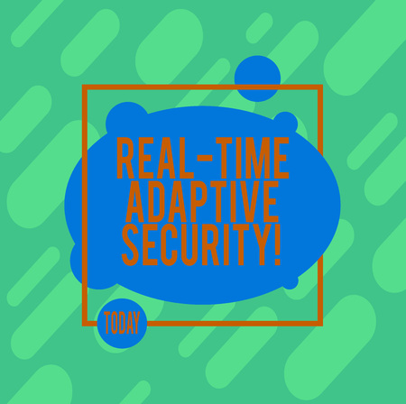 Handwriting text writing Real Time Adaptive Security. Concept meaning accommodate the emergence of multiple perimeters Asymmetrical Blank Oval photo Abstract Shape inside a Square Outline
