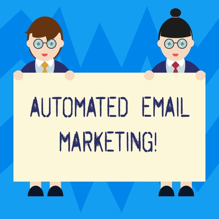 Text sign showing Automated Email Marketing. Conceptual photo Email sent automatically to list of showing Male and Female in Uniform Standing Holding Blank Placard Banner Text Space Stockfoto