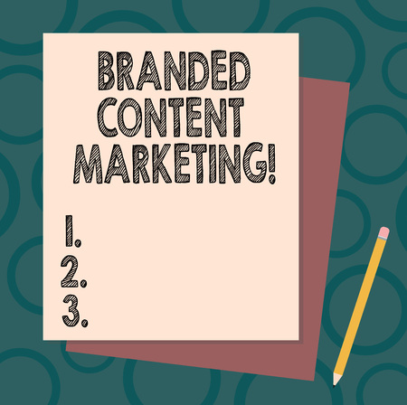 Handwriting text writing Branded Content Marketing. Concept meaning Involves creating content linked to a brand Stack of Blank Different Pastel Color Construction Bond Paper and Pencil Stock Photo