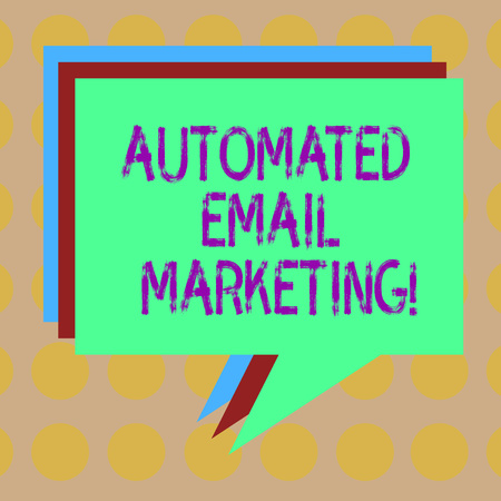 Word writing text Automated Email Marketing. Business concept for Email sent automatically to list of showing Stack of Speech Bubble Different Color Blank Colorful Piled Text Balloon