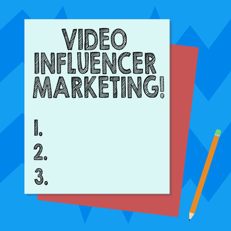 Writing note showing Video Influencer Marketing. Business photo showcasing Sponsored content by influencer to promote brand Stack of Different Pastel Color Construct Bond Paper Pencil