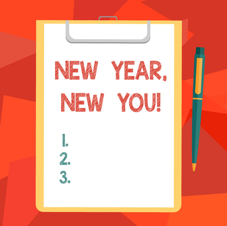 Word writing text New Year New You. Business concept for 365 days of opportunities to change your expectations Blank Sheet of Bond Paper on Clipboard with Click Ballpoint Pen Text Space