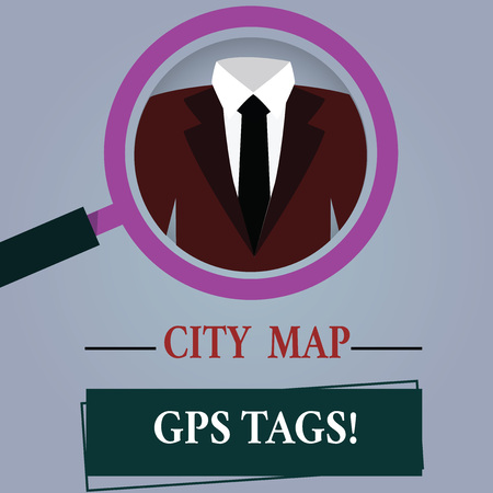 Word writing text City Map Gps Tags. Business concept for Global positioning system location of places in cities Magnifying Glass photo Enlarging Inspecting a Tuxedo and Label Tag Below