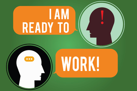 Word writing text I Am Ready To Work. Business concept for Be prepared for a job motivated to achieve goals Messenger Room with Chat Heads Speech Bubbles Punctuations Mark icon Stock Photo