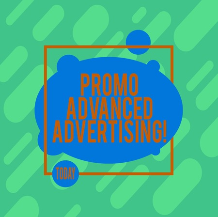 Handwriting text writing Promo Advanced Advertising. Concept meaning inform target audiences the merits of a product Asymmetrical Blank Oval photo Abstract Shape inside a Square Outline 스톡 콘텐츠