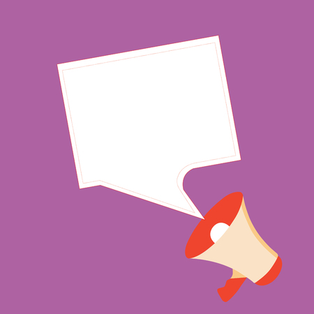 Flat design business Vector Illustration concept template copy space text for Ad website esp isolated 3d isometric. Megaphone and Blank Bordered Square Speech Bubble Public Announcement