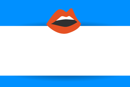 Flat design business Vector Illustration Empty copy space for Ad website promotion esp isolated Banner template. Sensually Parted Red Lips showing Teeth Open Mouth wearing Lipstick