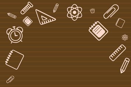 Modello vuoto dell'illustrazione di vettore di affari di progettazione piana Disposizione per il buono del manifesto di promozione della cartolina d'auguri dell'invito. Materiale scolastico sparsi sul bordo superiore e laterale con spazio centrale
