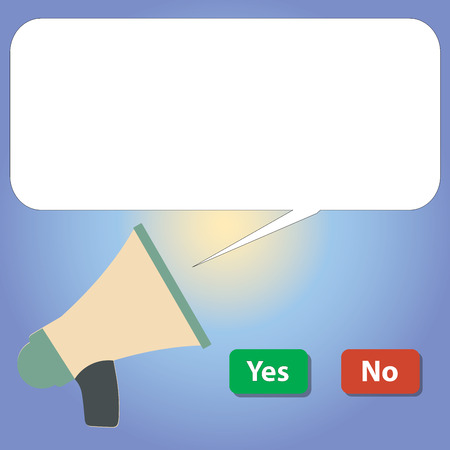Flat design business Vector Illustration concept Empty template copy space Posters coupons promotional material. Selection Button Green Yes and Red No with Blank Speech Bubble Megaphone