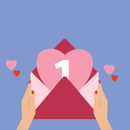 Flat design business Vector Illustration concept Empty template copy space Posters coupons promotional material. Female Human Hand Holding an Open Envelope with Big Heart coming out