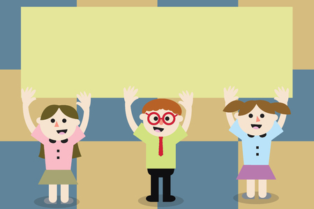 Flat design business Vector Illustration Empty copy space for Ad website promotion esp isolated Banner template. Three School Kids with both Arms Raising upward are Singing Smiling Talking