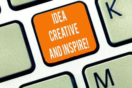 Writing note showing Idea Creative And Inspire. Business photo showcasing Inspiration creativity motivation for originality Keyboard Intention to create computer message keypad idea Foto de archivo