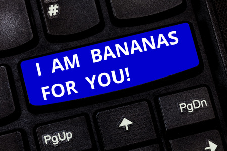 Text sign showing I Am Bananas For You. Conceptual photo To be crazy for someone in loved happy emotion Keyboard key Intention to create computer message pressing keypad idea