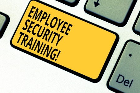 Writing note showing Employee Security Training. Business photo showcasing Educating employees about computer security Keyboard key Intention to create computer message pressing keypad idea