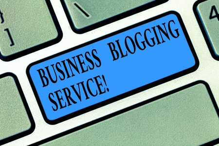 Word writing text Business Blogging Service. Business concept for publishing shortform content of a business Keyboard key Intention to create computer message pressing keypad idea