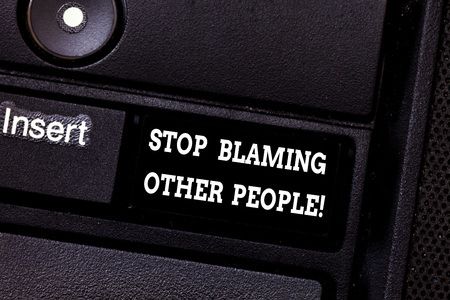 Text sign showing Stop Blaming Other People. Conceptual photo Do not make excuses assume your faults guilt Keyboard key Intention to create computer message pressing keypad idea 版權商用圖片
