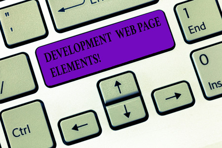 Handwriting text writing Development Web Page Elements. Concept meaning Website design online sites developing Keyboard key Intention to create computer message, pressing keypad idea Фото со стока