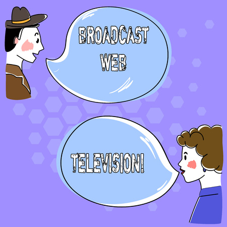 Conceptual hand writing showing Broadcast Web Television. Business photo text media presentation dispersed over the Internet Hand Wo analysis Talking photo with Blank Color Speech Bubble
