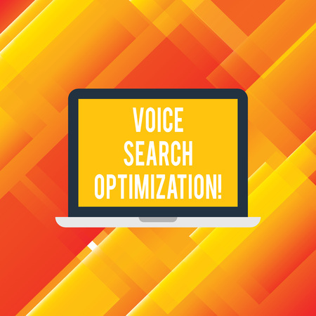 Handwriting text writing Voice Search Optimization. Concept meaning enhance web searching through spoken comanalysisds Laptop Monitor Personal Computer Device Tablet Blank Screen for Text Space