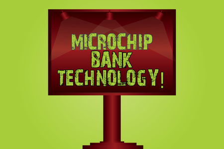 Text sign showing Microchip Bank Technology. Conceptual photo Binary transactions of bank fund and savings Blank Lamp Lighted Color Signage Outdoor Ads photo Mounted on One Leg Imagens