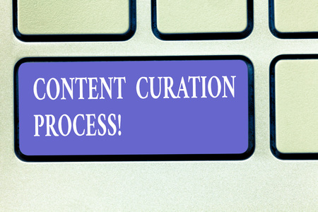 Text sign showing Content Curation Process. Conceptual photo Gathering information relevant to particular topic Keyboard key Intention to create computer message pressing keypad idea Zdjęcie Seryjne
