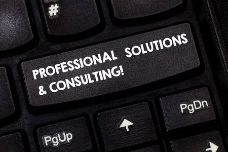 Word writing text Professional Solutions And Consulting. Business concept for Business strategy good services Keyboard key Intention to create computer message pressing keypad idea Stockfoto