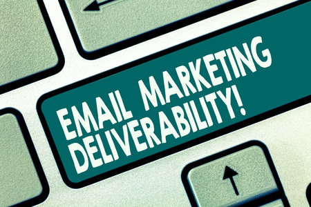 Word writing text Email Marketing Deliverability. Business concept for Ability to deliver emails to subscribers Keyboard key Intention to create computer message pressing keypad idea