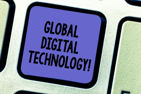 Text sign showing Global Digital Technology. Conceptual photo Digitized information in the form of numeric code Keyboard key Intention to create computer message pressing keypad idea