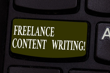 Conceptual hand writing showing Freelance Content Writing. Business photo showcasing online writing linked to web marketing campaign Keyboard key Intention to create computer message idea Stock Photo