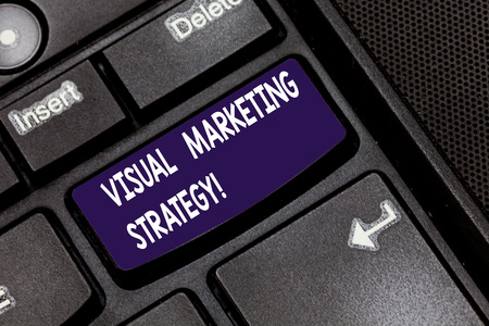Writing note showing Visual Marketing Strategy. Business photo showcasing connecting marketing messages into images Keyboard key Intention to create computer message pressing keypad idea Reklamní fotografie