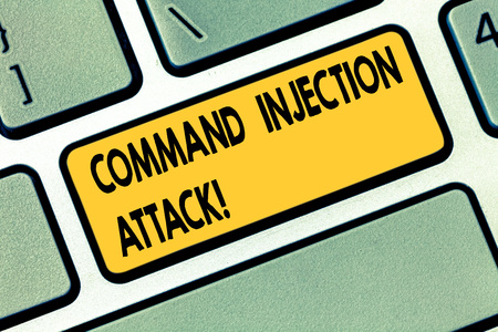 Text sign showing Command Injection Attack. Conceptual photo execution of arbitrary comanalysisds on the host OS Keyboard key Intention to create computer message pressing keypad idea Stok Fotoğraf - 115116142